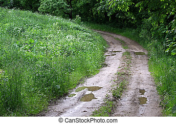 Countryside landscape with bad condition gravel road