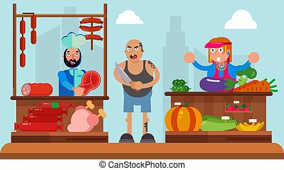 Bad guy concept, man thug at market, vector illustration. Cartoon pickpocket character in crime near fruits. Pilferer angry ruffian near seller, threaten with knife. Adult gangster aggression.