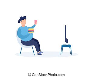Bad habits - overeating and TV addiction, flat vector ...