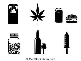 Bad habits vector icons