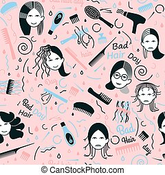 Bad hair day seamless pattern. Decorative addon with woman...