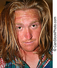 Bad Hair Day - Young man with bad case of morning hair.