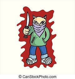 Bad hip hop cat cartoon design