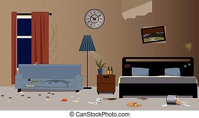 Bad hotel - Dirty hotel room interior, EPS 8 vector...