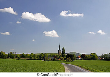 Bad Iburg-Glane, Osnabruecker land, Lower Saxony, look at the village and the Teutoburg forests, Germany, Europe