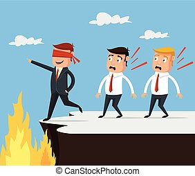 Bad leader. Wrong way. Vector flat cartoon illustration