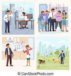 Set of bad luck and stressful situations. Male character experiences stress in everyday life. ramped on the subway, quarrel with his wife, conflict at work, dog attack. Flat Art Vector illustration