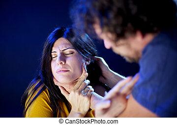 Bad man abusing of beautiful woman - Domestic violence woman...