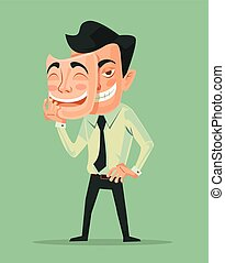Bad man wear good mask. Vecctor flat cartoon illustration