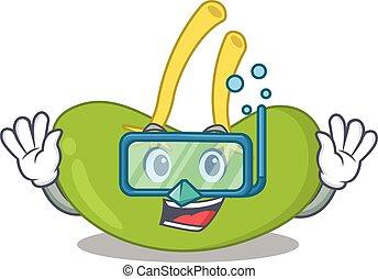 bad, maskot, glasögon, mjälte, design, dykning