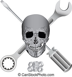 bad mechanic symbol - bad mechanic tool pirate skull