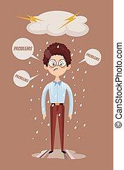 Bad mood. Sad office man character. Vector flat cartoon illustration