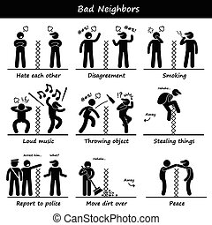 A set of human pictogram representing unhappy neighbors quarrel and cursing each other. He is upset about the smoke, loud music, and his neighbor also steal his stuff. He report to police. They have peace at the end.