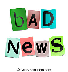Bad news concept. - Illustration depicting cutout printed...