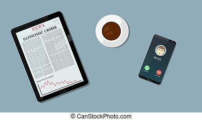 Bad news for economics and Business down chart, negative arrow on tablet while boss calls. Coffe and busines background.