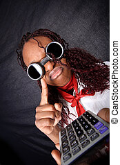 bad news for your business - afro american with calculator