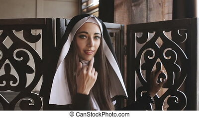 bad nun showing middle finger - bad nun Shows Sign with...