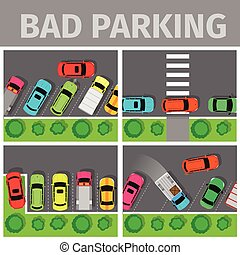Bad parking set. Car parked in inappropriate way on lawn pavement, sidewalk, Driver annoying everyone. Parking zone conceptual web banner. Rude disrespectful i driver in parking lot or car park. Vector