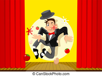 Bad Performance - Stock vector of an entertainer having a...