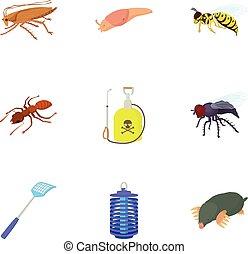 Bad pests icons set, cartoon style