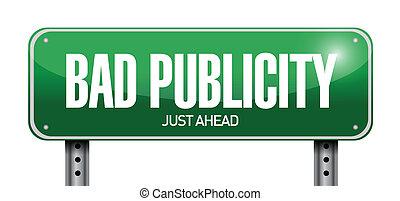 bad publicity road sign illustration design over a white...
