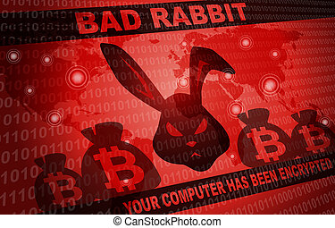 Bad Rabbit Ransomware Attack Malware Hacker Around The World Background
