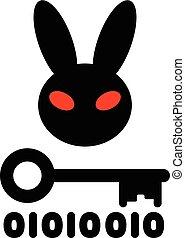 Bad Rabbit ransomware virus, vector illustration. Dangerous...