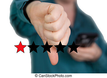 Bad review, Thumb down with red stars for bad service dislike bad quality, Customer experience, rating, social media concept background