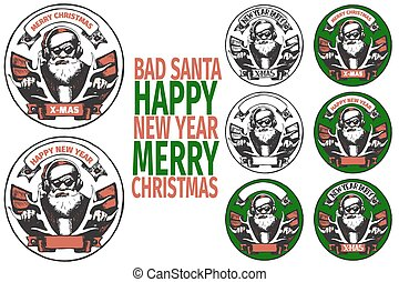 BAD SANTA banners - set of round poster with BAD SANTA of...