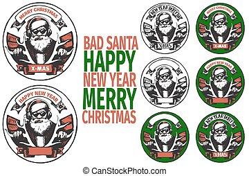 BAD SANTA banners - set of round poster with BAD SANTA of...