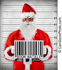 Bad Santa Claus - Santa Claus bad barcode wishes a Merry...
