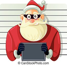 Bad Santa Police Mugshot Vector Cartoon - Arrested Masked...
