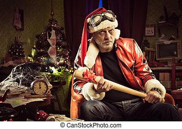 Bad Santa with bad Christmas gift