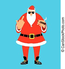 Bad Santa with cigar and fuck. Angry drunk Claus. Harmful...