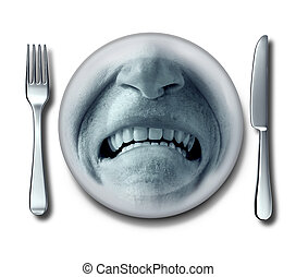 Bad service experience at an awful restaurant with a fork and knife and a plate whith a disgusted grossed out and disgruntled customer expression that has nausea or food poisoning.