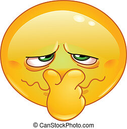 Bad smell emoticon - Emoticon holding his nose because of a ...