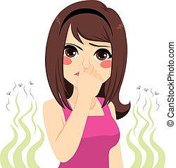 Bad Smell Girl - Young teenager girl pinching her nose bad...