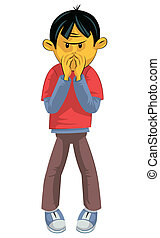 Bad smell - Standing boy hides his nose from bad smell