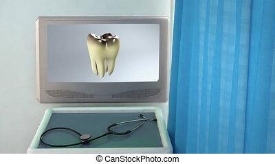 bad tooth medical screen closeup - teeth screen in medical...