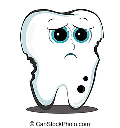 bad tooth - sad sick tooth is affected by caries