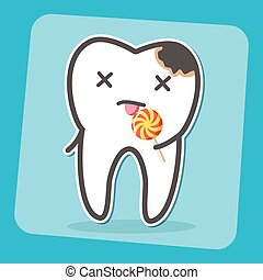Bad tooth with caries cavity and lollipop.