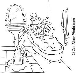 bad, vrouw, vector, het liggen, illustratie