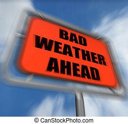 Bad Weather Ahead Sign Displays Dangerous Prediction - Bad...