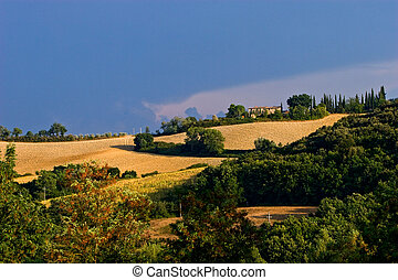 Bad weather in the hills of toscane