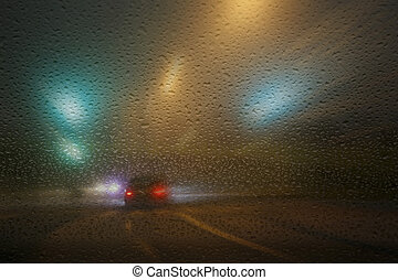 Bad weather in traffic - Rainy winter evening on the road...