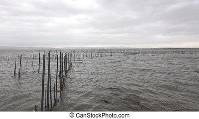 Bad weather over Albufera wetland, Valencia. - Static camera...