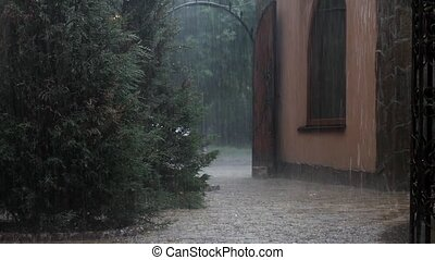 Bad weather, rain and hail - Colder and it began to rain and...
