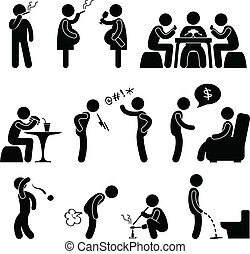 A set of pictogram about people bad behavior and habit.
