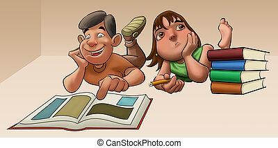 badając, dziewczyna, egzamin, młody, jej