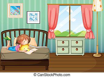 badając, dziewczyna, pokój, jej